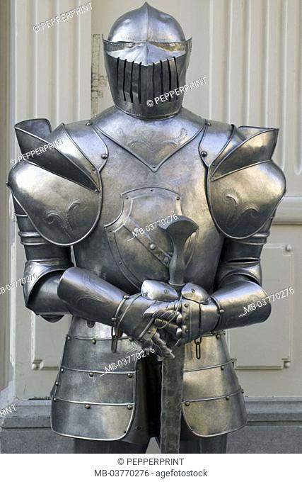 Knight armament, detail,   Knights, armament, sword, weapon, blow weapon, Stoßwaffe, Helmet, visor, body protection, protection clothing, nostalgia, Middle ages
