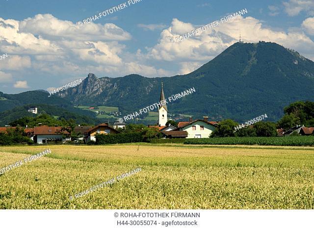 Bayern, Oberbayern, Berchtesgadener Land, Berchtesgaden, Himmel, blauer Himmel, Alpen, Gebirge, Berge, Panorama, Freilassing, Salzburghofen, Kirche, Kirchturm