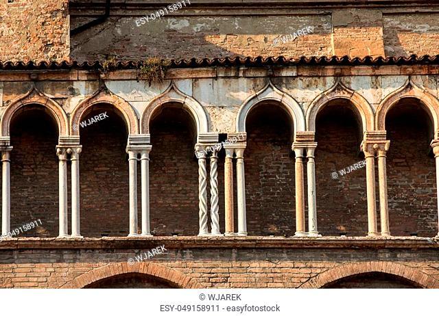 the side wall of Ferrara cathedral, Basilica Cattedrale di San Giorgio, Ferrara, Italy