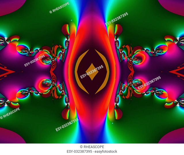 From SCI-FI series Alien Pop Art . Glowing abstract fractal background featuring alien creativity with splash of vivid colors and optical illusion