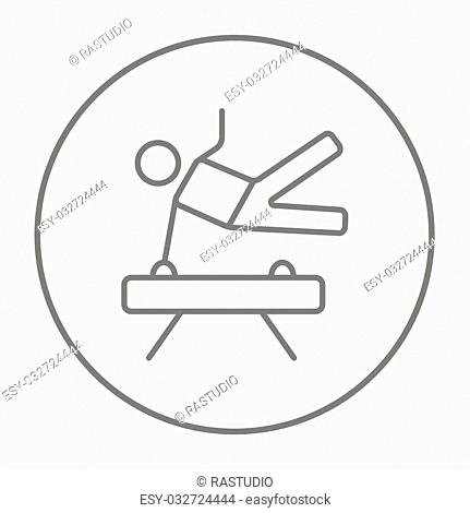 Gymnast exercising on the pommel horse line icon for web, mobile and infographics. Vector grey thin line icon in the circle isolated on white background