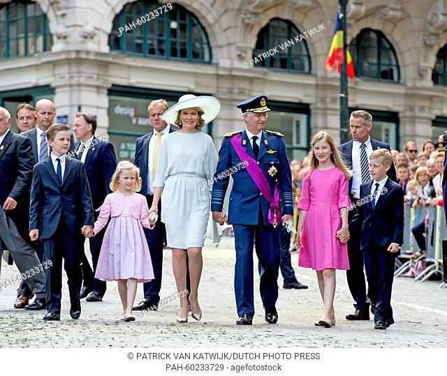 (L-R) Prince Gabriel, Princess Eleonore, Queen Mathilde of Belgium, King Philippe of Belgium, Crown Princess Elisabeth and Prince Emmanuel walk together after...