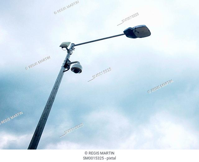 CCTV camera under a lamp post