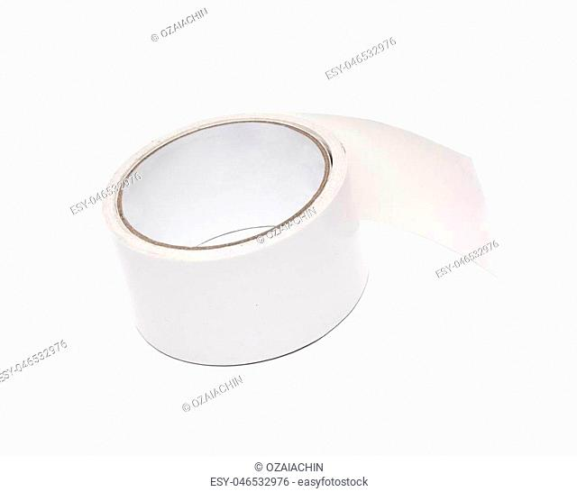 roll of white adhesive tape isolated on white