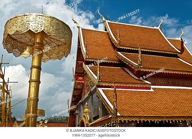Temple roof and Ceremonial Umbrella, Wat Phra That Doi Suthep, Chiang Mai, Thailand