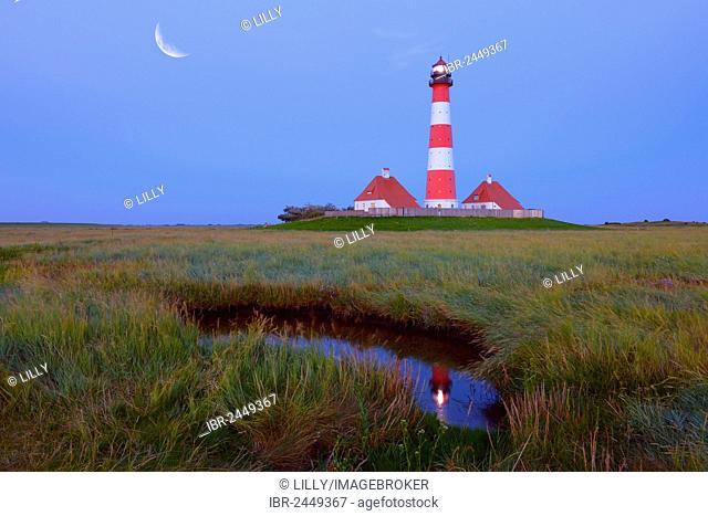 Westerheversand lighthouse, moon, composing, Westerhever, North Sea, North Frisia, Schleswig-Holstein, northern Germany, Germany, Europe