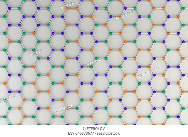 Graphene atomic structure on white background. Hexagonal colored molecular grid. Concept of carbon structure. Crystal lattice