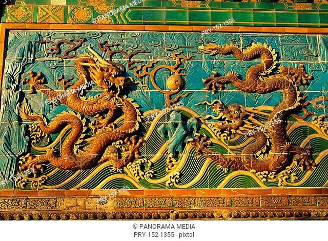 Close shot of parts of Nine-dragon Screen in North Park, Beijing