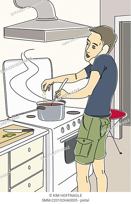 Man cooking dinner on the phone