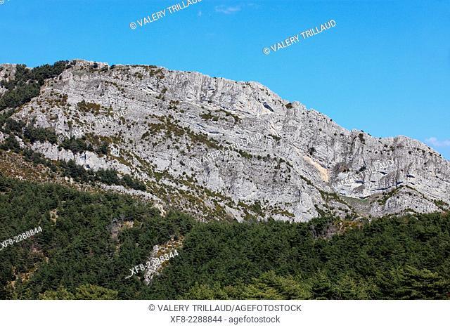 Landscape of the Vesubie Valley, Roccassiera mountain, Mercantour national park, Alpes-Maritimes, Provence-Alpes-Côte d'Azur, France
