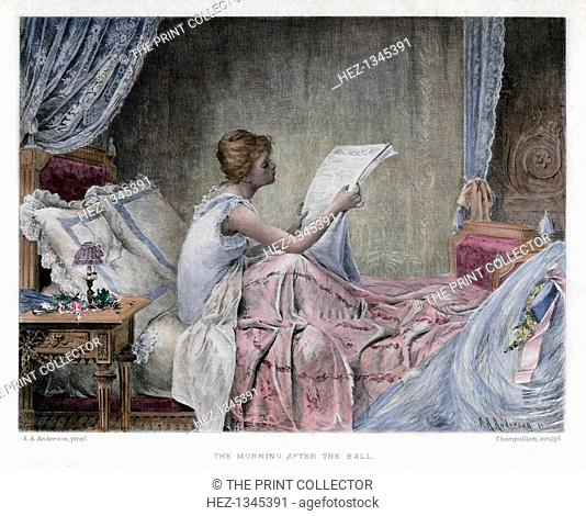 'The Morning after the Ball', late 19th century. A young woman scans a newspaper to see if there is any mention of her society debut the night before