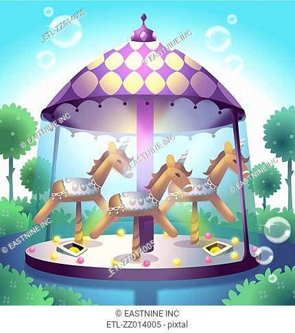 Carousel in a pond