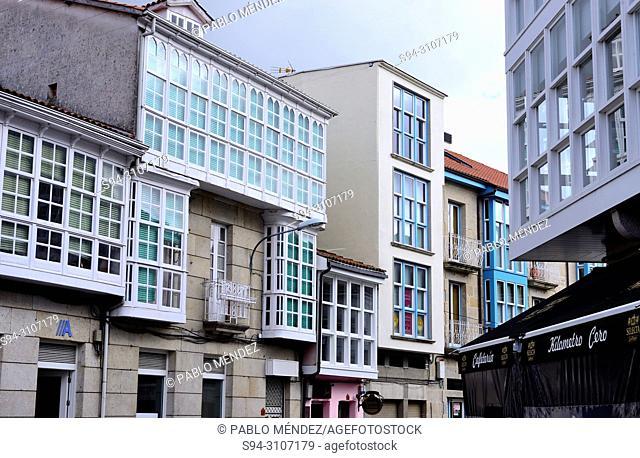 Typical glass windows in Maceda, Orense, Spain