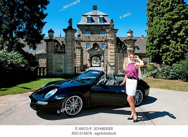 stylish woman and Porsche 911 in front of castle, 911 carrera, 4S, convertible car, sportscar, luxurious