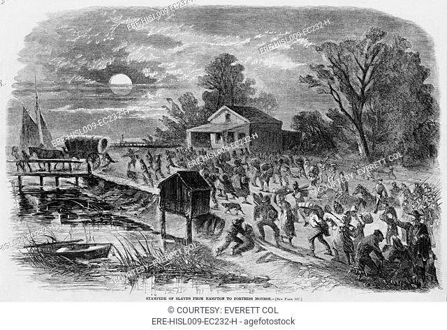 Enslaved African-Americans running from Hampton, Virginia to Fortress Monroe seeking sanctuary from slavery in August 1861