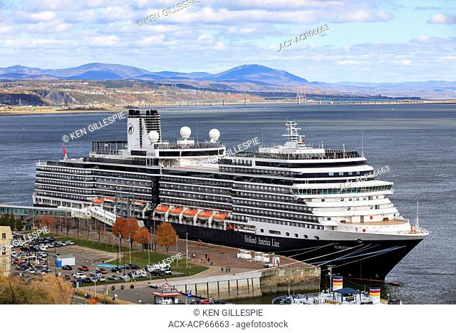 Cruise ship on the St. Lawrence River, docked in Quebec City, Quebec, Canada
