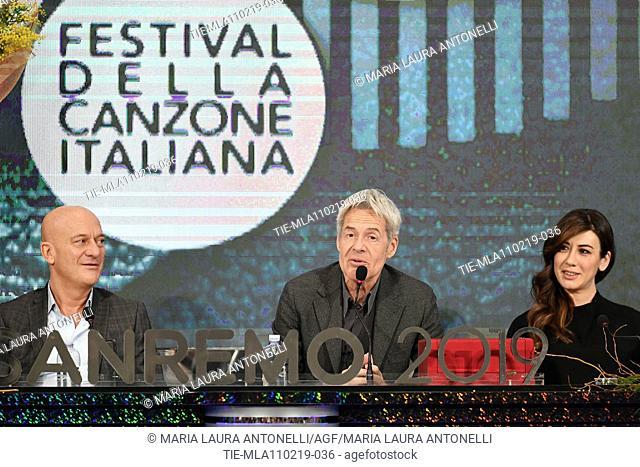 Claudio Bisio, Claudio Baglioni, Virginia Raffaele during the final press conference of 69th Sanremo Music Festival, Sanremo, ITALY- 10-02-2019