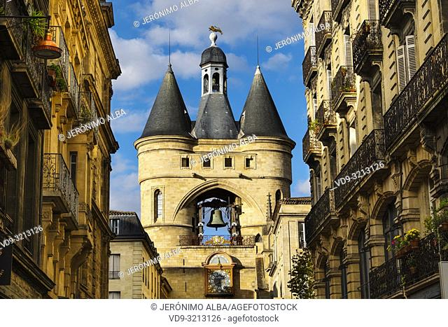 Clock tower, the Grosse cloche, Bordeaux, Gironde. Aquitaine region. France Europe