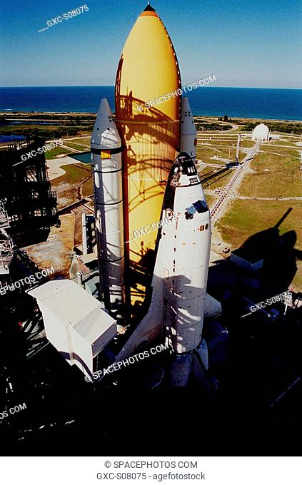 03/22/2001 -- Afternoon shadows cast a grid over the Space Shuttle Endeavour's white solid rocket boosters and orange external tank after arriving on Launch Pad...