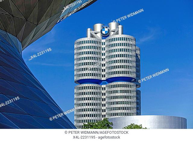 "BMW Welt and Headquarters """"BMW four-cylinder"""", Munich, Bavaria, Germany, Europe"