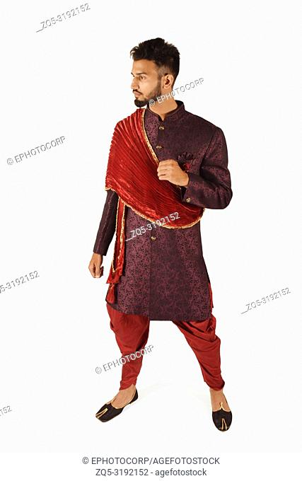 Handsome boy in Indian traditional attire posing for camera, Pune, Maharashtra