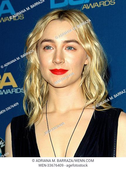 70th Annual DGA Awards 2018 Press Room held at the Beverly Hilton Hotel in Beverly Hills, California. Featuring: Saoirse Ronan Where: Los Angeles, California