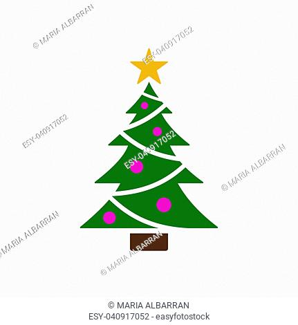 Isolated christmas tree icon with star. Color vector illustration