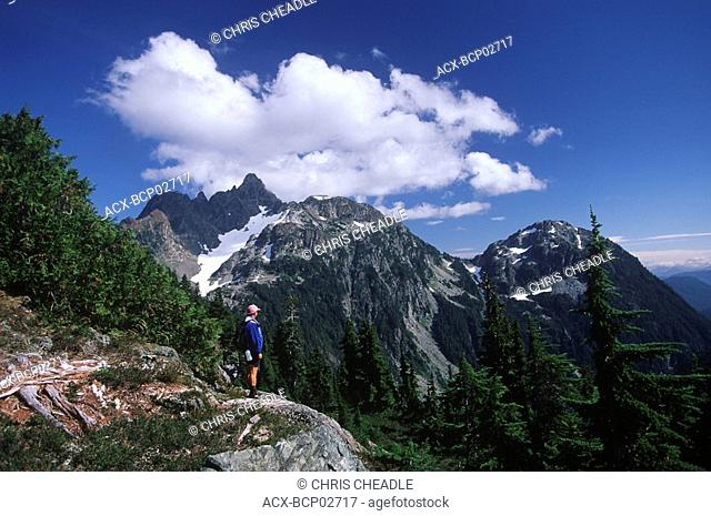 Strathcona Provincial Park, Mt Septimus and hiker, Vancouver Island, British Columbia, Canada