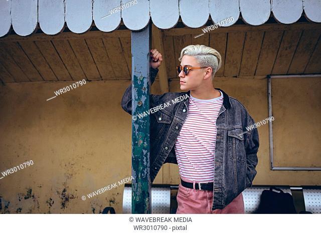 Man standing at railway platform