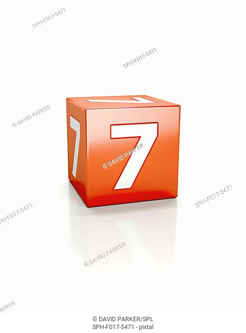 Red cube with the number seven