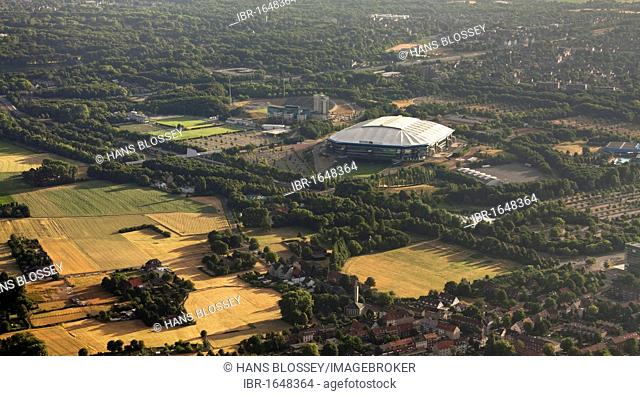 Aerial view, Schalkearena stadium, Arena auf Schalke stadium, Veltins-Arena stadium, stadium of a German Bundesliga club at sunrise, Buer district