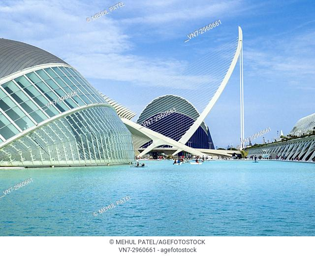 Boating on the waters of the City of Arts and Sciences complex, Valencia, Spain