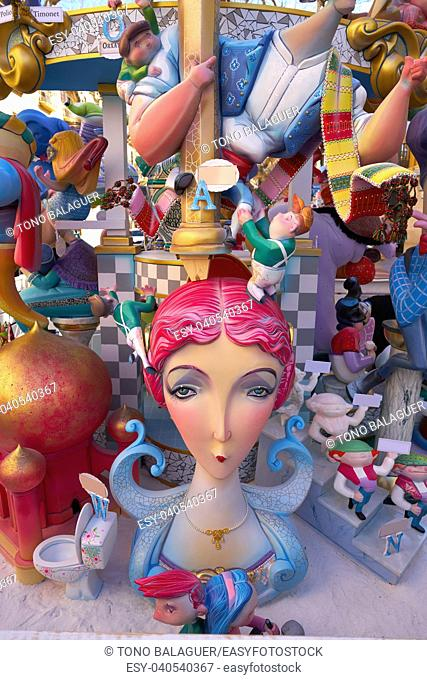 Fallas figures in Valencia popular fest at Spain