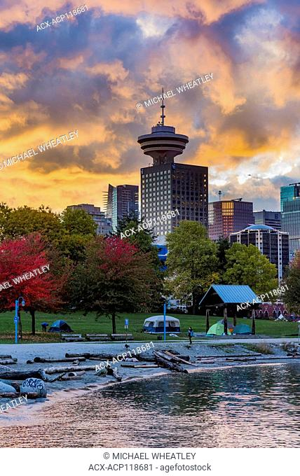Cluster of homeless tents, Crab Park, Vancouver, British Columbia, Canada