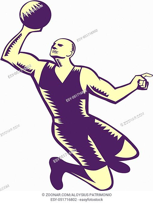 Illustration of a basketball player dunking ball viewed from front set on isolated white background done in retro woodcut style