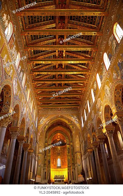 Main Isle and altar wioth Byzantine mosaics in the Cathedral of Monreale - Palermo - Sicily