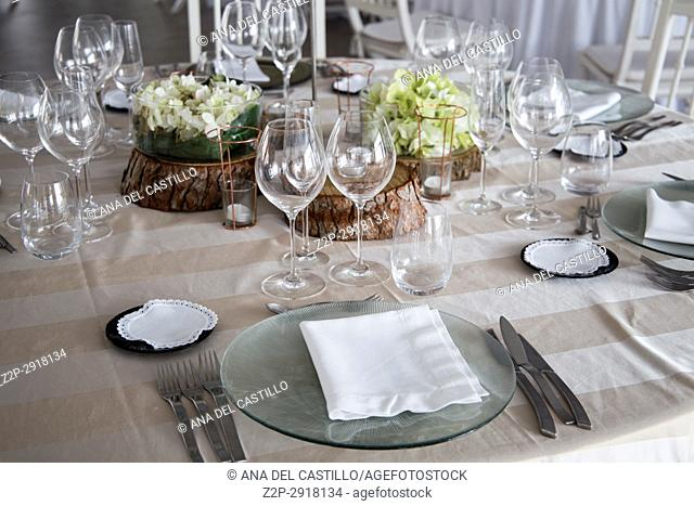 Refined table setting for marriange celebration Spain
