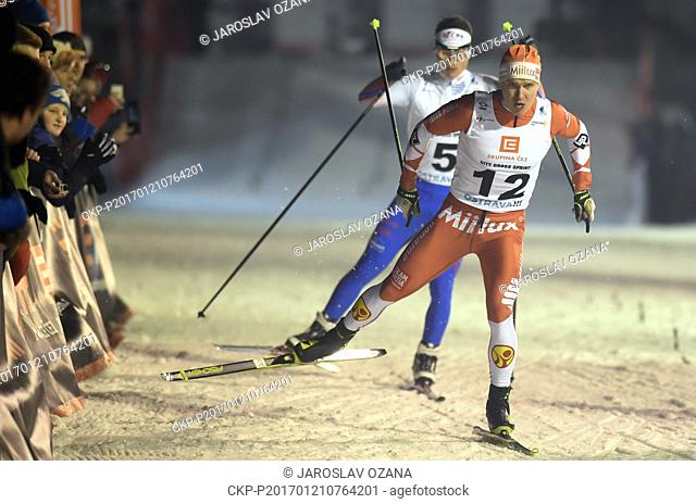 From left Czech cross-country skier Ondrej Dudek (left) and Lasse Paakkonen from Finland in action during the CEZ City Cross Sprint 2017 in Ostrava