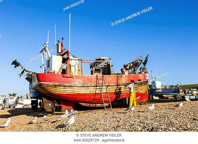 England, East Sussex, Hastings, The Stade, Fishing Boat on Beach