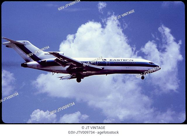 Eastern Airlines Boeing 727-53 Commercial Jet In-Flight, 1960's