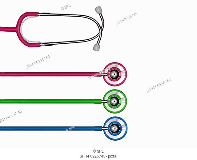 Stethoscopes in a row