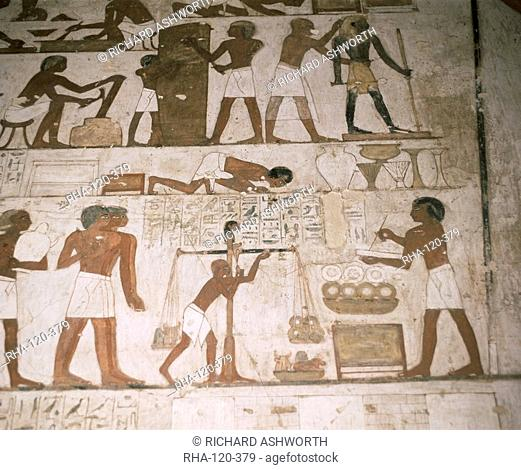 Wall paintings, tomb of Rehunire, Valley of the Nobles, Thebes, UNESCO World Heritage Site, Egypt, North Africa, Africa