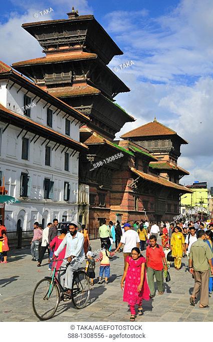 At Basantapur Dabali Square  The towe behind is Basantapur Durbar