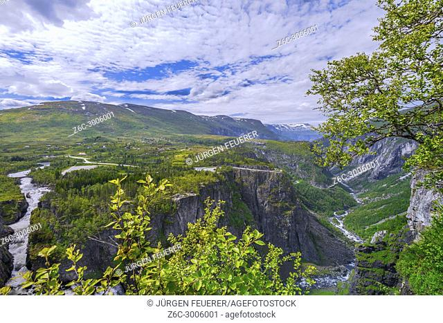 Waterfall Voringfossen and panorama view over the plateau and canyon of Mabodalen, Norway, also Voringsfossen