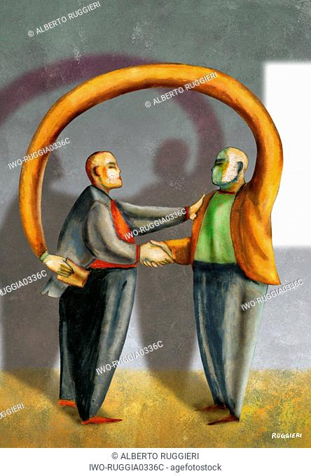 A man stealing another man's wallet while shaking his hand