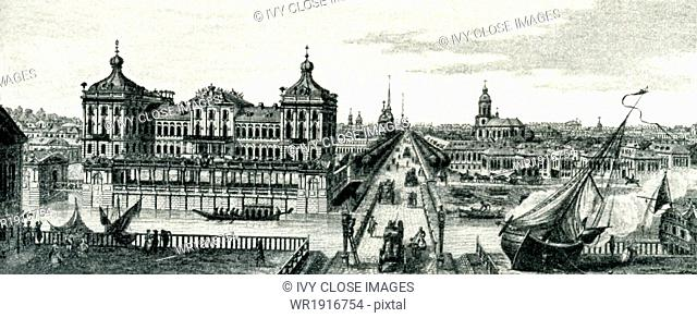 This view shows St. Petersburg, Russia, with the palace on the left and then, to its right, Nevsky Prospect, the city's main throughfare
