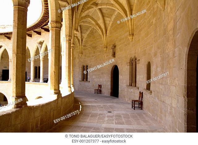 Bellver Castle Castillo cloister corridor in Majorca at Palma de Mallorca Balearic Islands