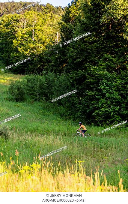 Man Riding Mountain Bike On Grassy Field In Mount Ascutney, Vermont, Usa