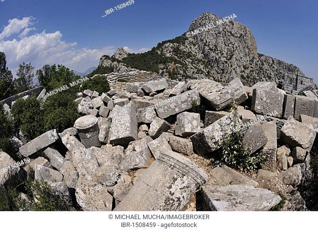 Theatre complex destroyed by an earthquake in the mountains of Termessos near Antalya, Turkey, Asia