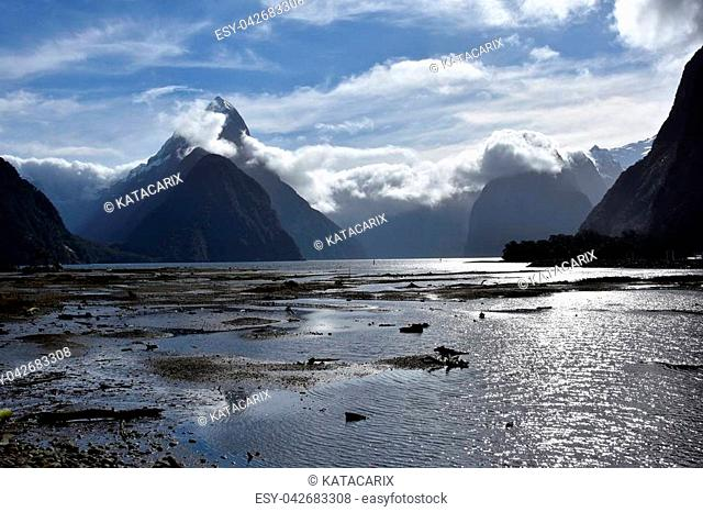 Milford Sound at low tide. Mitre Peak (Fiordland New Zealand). 8th wonder of the world